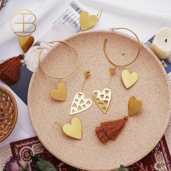Customized New Design Gold Color Brown Tassel Serrated Heart Dangle Earring Hollow Big Hoop Earrings For Women