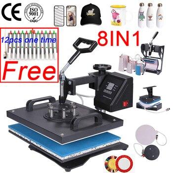 цена на Double Display 30*38CM 8 in 1 Combo Heat press Machine 2D Heat Transfer Machine Sublimation Printer  for Cap/Mug/Tshirts