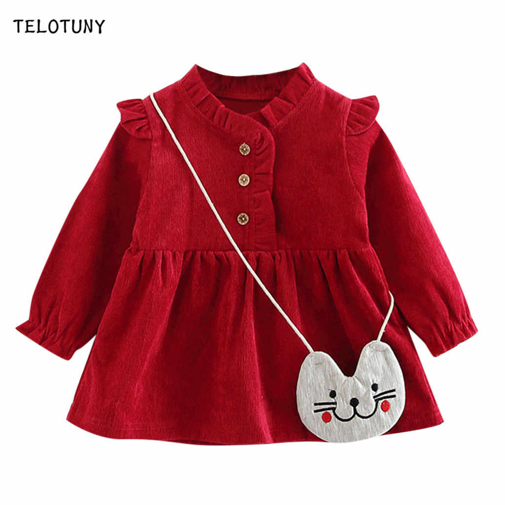 TELOTUNY Girls Dress Kids Dresses For Girls Casual Solid Frill Princess Dress+Bag Set Baby Girl Clothes Dresses Kids Clothes 903