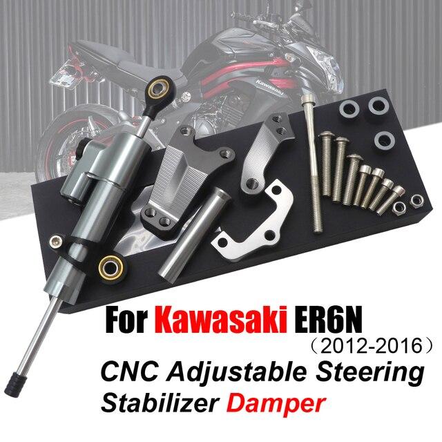 สำหรับ Kawasaki ER6N ER 6N 12 16 รถจักรยานยนต์อุปกรณ์เสริมพวงมาลัย Damper พร้อม Bracket 2013 2014 2015