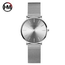 Top marka luksusowe HM siatka ze stali nierdzewnej zegarek japonia kwarcowy Sk różowe złoto projektant elegancki styl zegarek dla kobiet