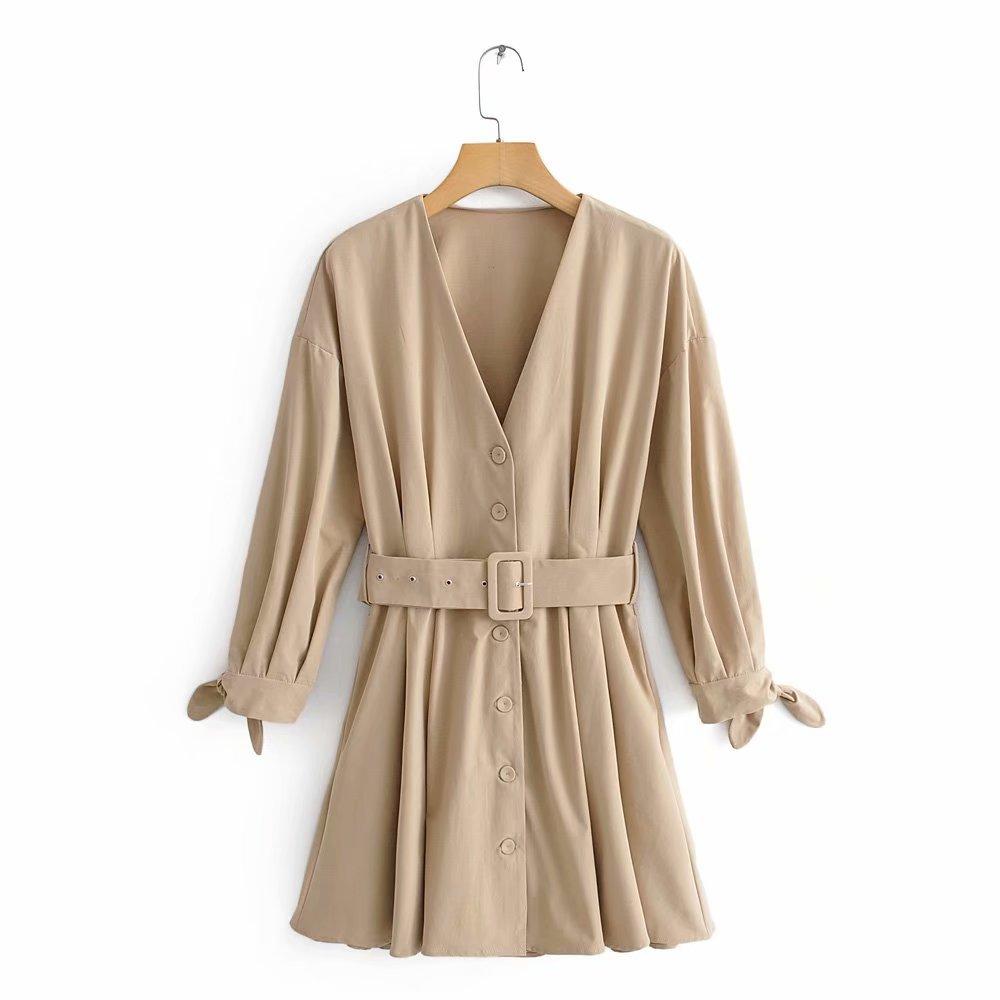 Women fashion v neck solid color vestidos sashes mini Dress autumn ladies bow tied three quarter sleeve casual Dresses DS2902