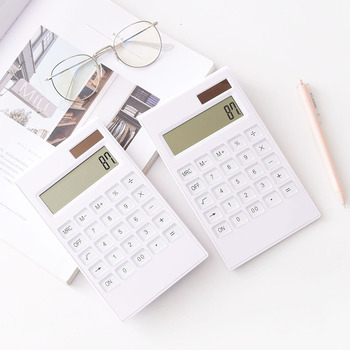 12 digit crystal key dual power portable large screen calculator financial accounting inventory office household stationery centechia useful lcd 8 digit touch screen ultra slim transparent solar calculatorstationery clear scientific calculator office