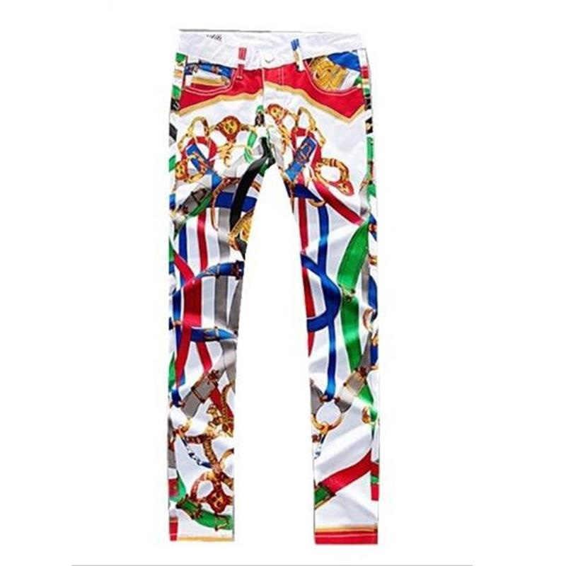 2019 neue junge männer jeans pantalon hombre jean Farbe gedruckt Dünne jeans design nachtclubs sänger dünne hosen hohe qualität