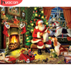 HUACAN Painting By Number Santa Claus Drawing On Canvas DIY Pictures By Number Christmas Hand Painted Home Decoration Gift