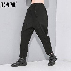 [EAM] High Elastic Waist Black Button Split Joint Long Trousers New Loose Fit Harem Pants Women Fashion Tide Spring Autumn 2020