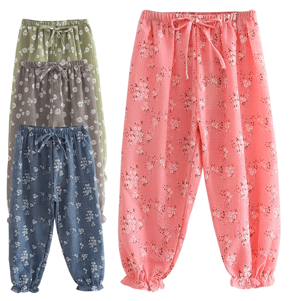 Fashion Girls Pants Summer Children Girls Cotton Linen Flower Printed Casual Pants Child Trousers Kids Bloomers Cool Baby Wear
