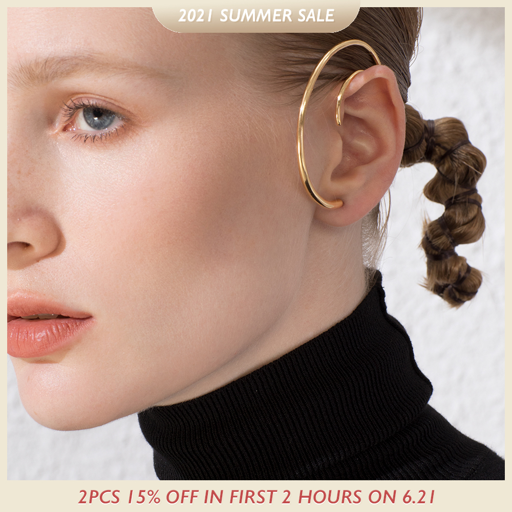ENFASHION Big Circle Hoop Earrings For Women Accessories Gold Color Statement Ball Curve Hoops Earings Fashion Jewelry E191122