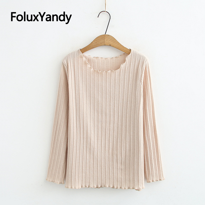 5 Colors New 2020 Women Tops Spring Autumn Tops Plus Size O-neck Casual Long Sleeve T-shirts KKFY4308