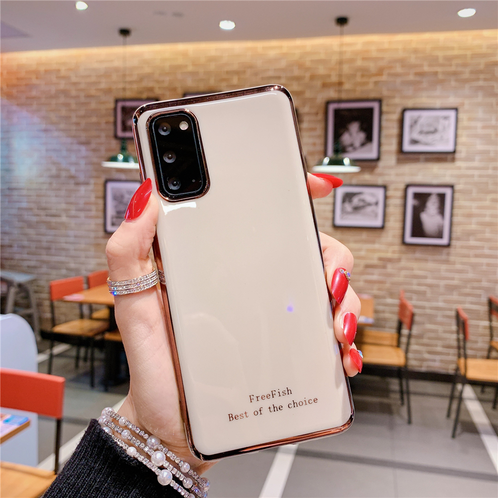 Electroplated Candy Color Phone Case For Samsung Galaxy S20 Ultra S10 S9 S10E Plus Note9 10 Pro Letter Soft Silicone Back Cover