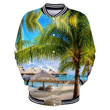 Aikooki Beach Coconut Tree Jackets Men/Women Hoodies Sea Beautiful Seaside View Baseball Jacket Boys/Girls Button Coats Outwear(China)