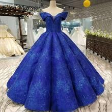 Glitter Royal Blue suknie balowe Quinceanera suknie 2020 prawdziwe zdjęcia Off Shoulder Puffy Event Prom Party dla słodkich 15 16 dziewcząt tanie tanio Ellen Morgan Długość podłogi Kochanie Bez rękawów Koronki Suknia balowa Quinceanera sukienki Off the Shoulder custom made