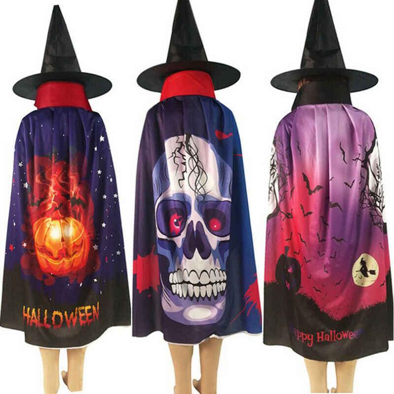 Одежда для взрослых на Хэллоуин; плащ волшебника ведьмы и накидка; шляпа; Комплект для мальчиков и девочек; Косплей; Новинка