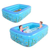 1.3M Three ring Children Bathing Tub Baby Home Use Paddling Pool Inflatable Square Swimming Pool Kids Inflatable Pool