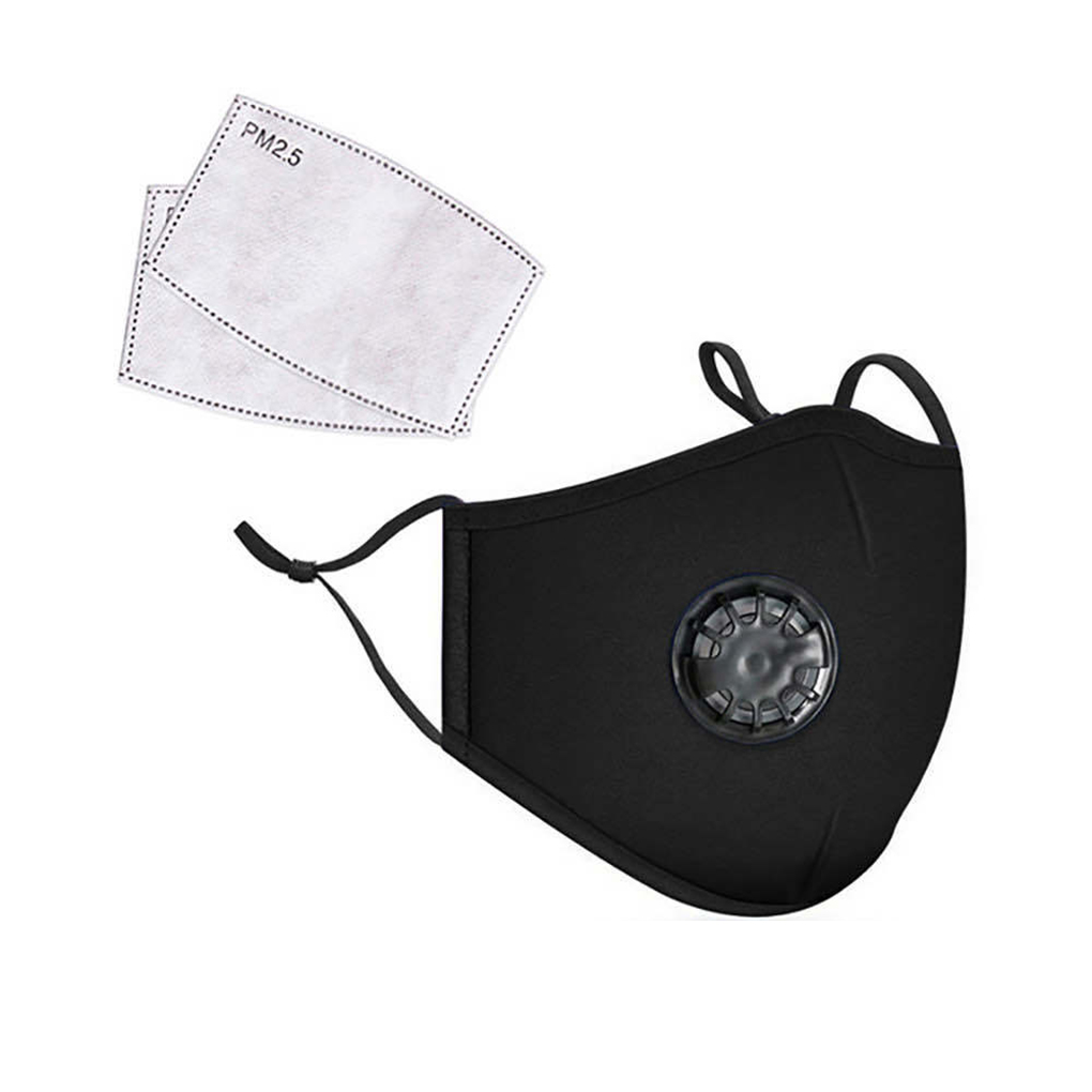 PM2.5 Masks Unisex Cotton Breath Valve PM2.5 Mouth Mask Anti-Dust Anti Pollution Mask Cloth Activated Carbon Filter