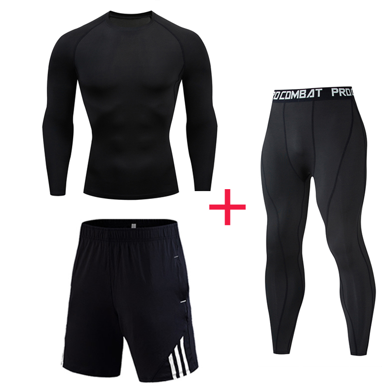 Men Sport Set MMA Clothing Rash Guard Male Compression Pants Stretch Breathable Men's Running Suit Full Man Tracksuit