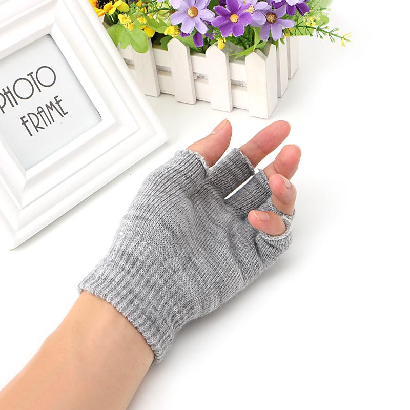 Fingerless Gloves Woman Winter Knitted Pair 1 Stretch Half Finger Elastic Soft Warm