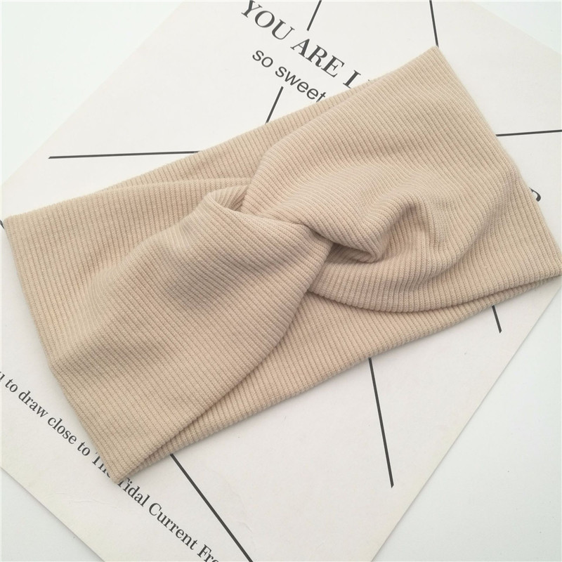 Cotton Women Headband Turban Solid Color Girls Knot Headband Hair Accessories Twisted Ladies Makeup Elastic Hair Bands Headwrap