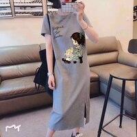 Koreanische Große Größe Dünne Kleider Für Plump Mädchen Lose Mid-Länge Sommer Kurzarm Kleid Für Studenten Junges Robe plus Größe Casual