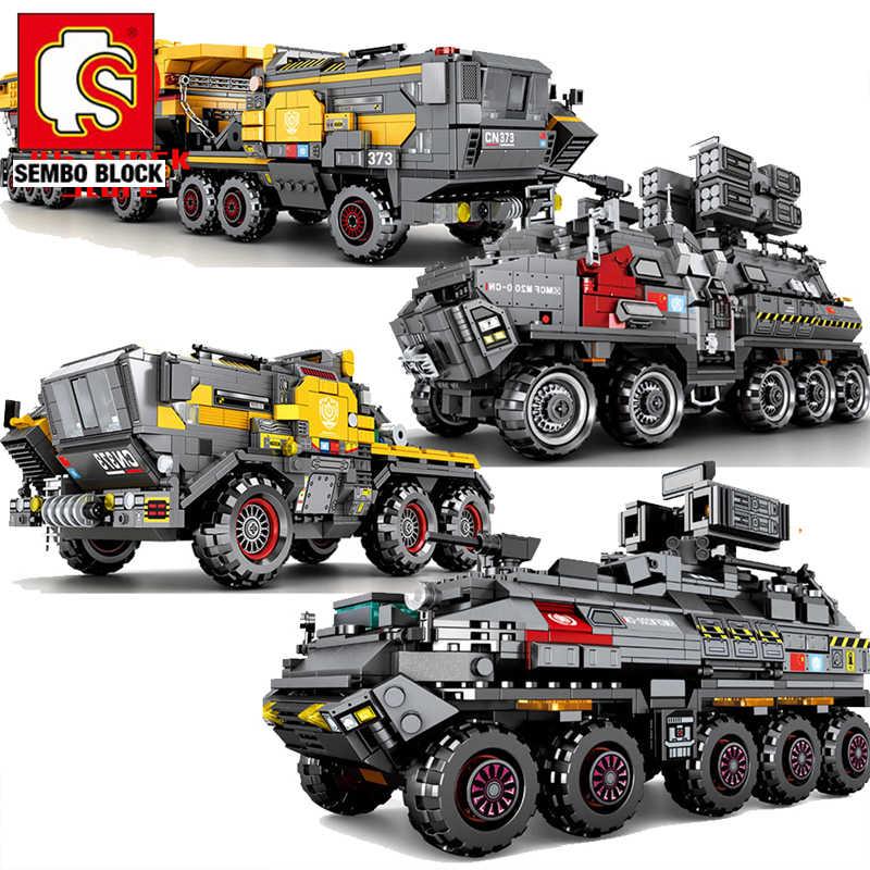 Wędrujący ziemia wojskowy SEMBO blok zbiornik wiadro przewoźnik ciężarówka Technic klocki klocki samochodowe zabawki konstruktora