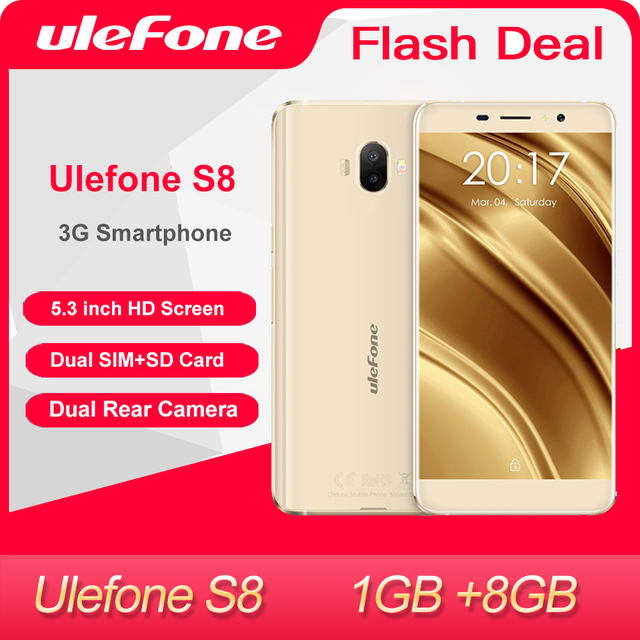 Ulefone S8 Mobile Phone 5.3 inch HD Quad Core Android 1GB+8GB Dual camera 13MP 3G Smartphone