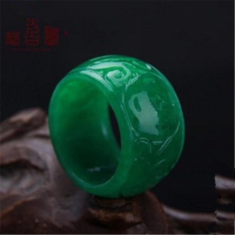 Naturalny Myanmar zielonego jadeitu pierścień biżuteria kamień zespół jade pierścień Jade kamienie dla kobiet biżuteria męska szmaragdowe szmaragdowe pierścienie