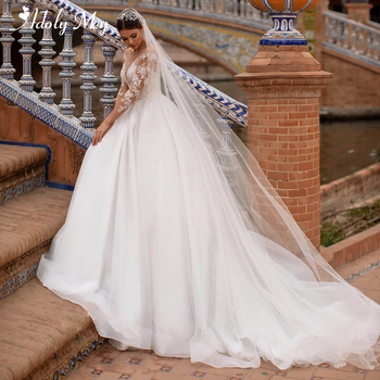 Adoly Mey Luxury Scoop Neck Beaded Long Sleeve A-Line Wedding Dresses 2020 Gorgeous Appliques Court Train Princess Wedding Gown