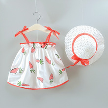 Sleeveless Baby Dresses Summer Girls Clothes Princess Dress +Hat Party Dress For Girl Cute Infant toddler Girls Clothing A0095 summer baby girls dress infant floral bow sleeveless toddler girls birthday party dresses baby clothing vestido infantil