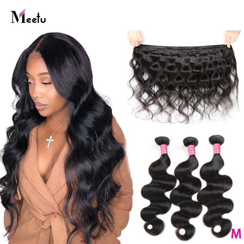 Meetu malaio onda do corpo feixes de cabelo humano não remy tecer cabelo pacotes cor natural 1 3 4 pacotes extensões do cabelo