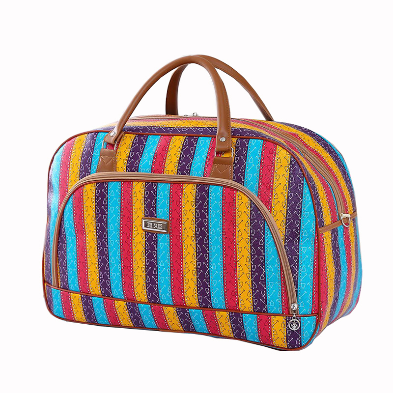 Women Travel Bags 2020 Fashion PU Leather Large Capacity Waterproof Print Luggage Duffle Bag Men Casual Travelling Weekend Bags