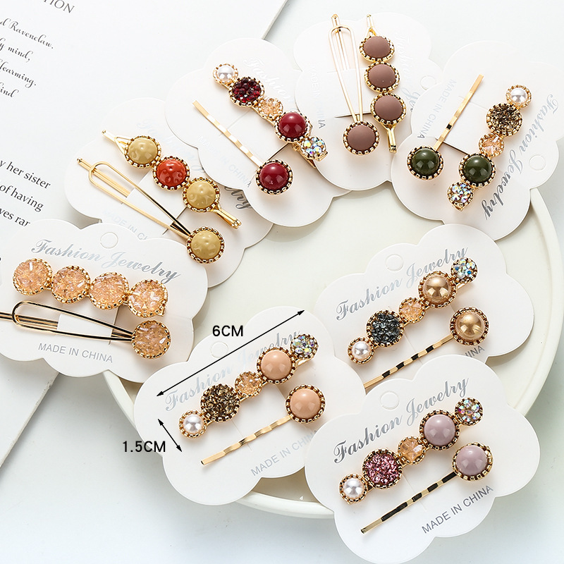 2Pcs/set Gold Pin Hairpin Geometrical Imitiation Pearl Metal Women Hair Clip  Elegant Crystal Rhinestone Hairpin For Women Girls