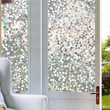 3D Clear Circle Decor Stained Glass Window Film Rainbow Effect Removable Self Adhesive Glass Sticker Static Cling Window Sticker