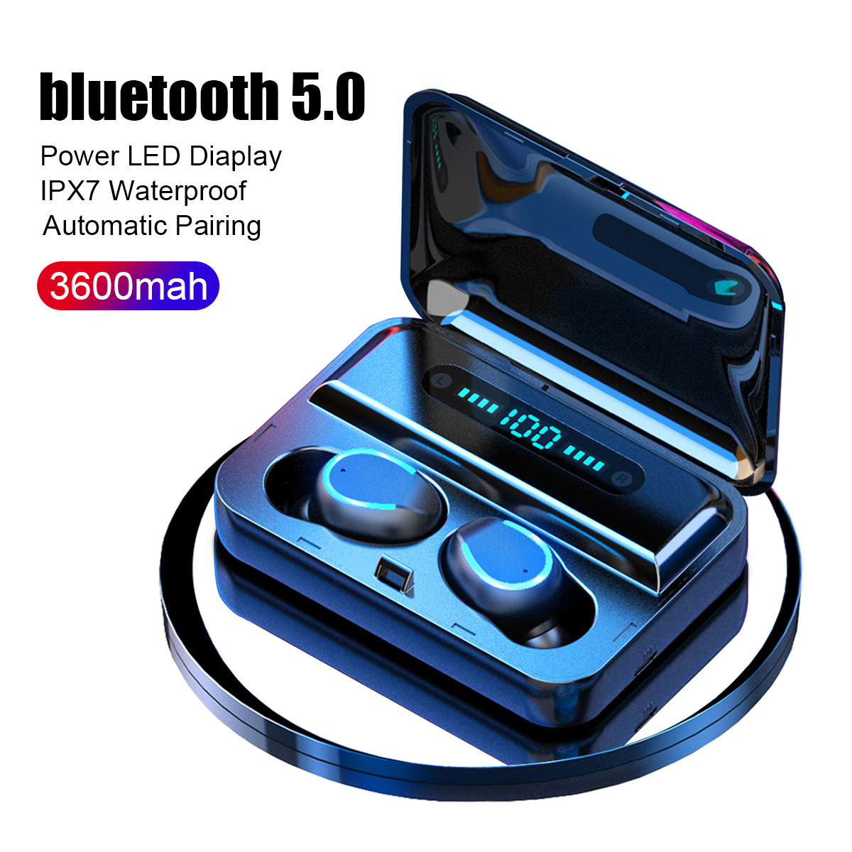 3600mAh TWS Wireless Earphones Bluetooth 5.0 Earphone Power Display Touch Control Stereo Cordless Earbuds Headset Charging Box