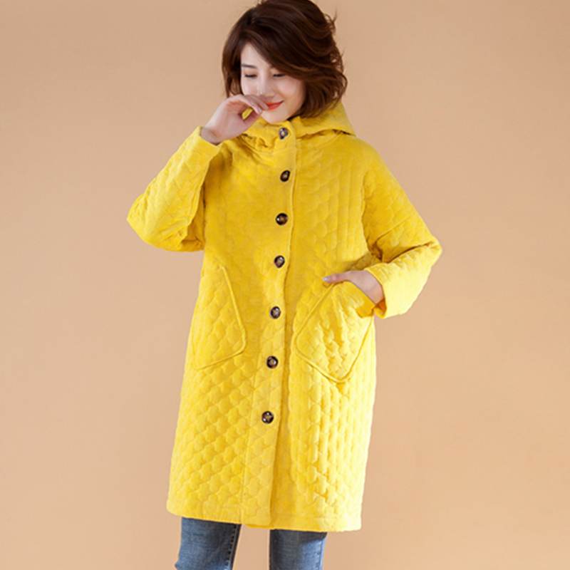 Corduroy Cotton Winter New Yellow Women Cotton Coat Long Pocket Button Loose Plus Size Thicken Warm Fashion Outwear Coat Tops