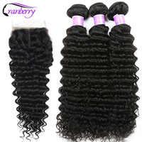 Cheveux de canneberge vague profonde faisceaux de cheveux humains avec fermeture 4 pièces/lot cheveux brésiliens armure faisceaux avec fermeture Remy Extension de cheveux
