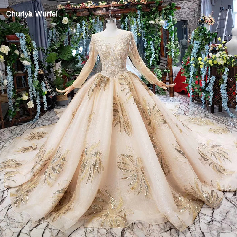 HTL480 Champagne Ball Gown Wedding Dress Plus Size O Neck Long Sleeves V-back Lace Bride Dress Gown Vestido De Novia Manga Larga