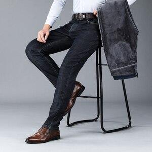 Image 3 - 2019冬の新メンズ暖かいレギュラーフィットジーンズビジネスファッション厚手のフリースデニムストレッチジーンズズボン男性ブランドパンツ黒