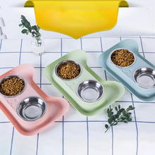 2 in 1 Durable Double Stainless Steel Dog Cat Bowls Pet Food and Water Elevated Feeder  with Non-spill&Non-skid Design