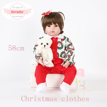 forrsdor 58cm boneca babe lifelike reborn doll wearing Christmas clothes as the best Christmas birthday gift reborn babay doll(China)