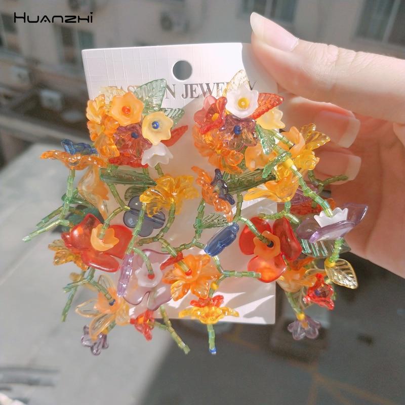 HUANZHI 2020 New Retro Resin Transparent Colorful Flower Long Tassel Multilayer Dangle Drop Earrings For Women Girls Jewelry