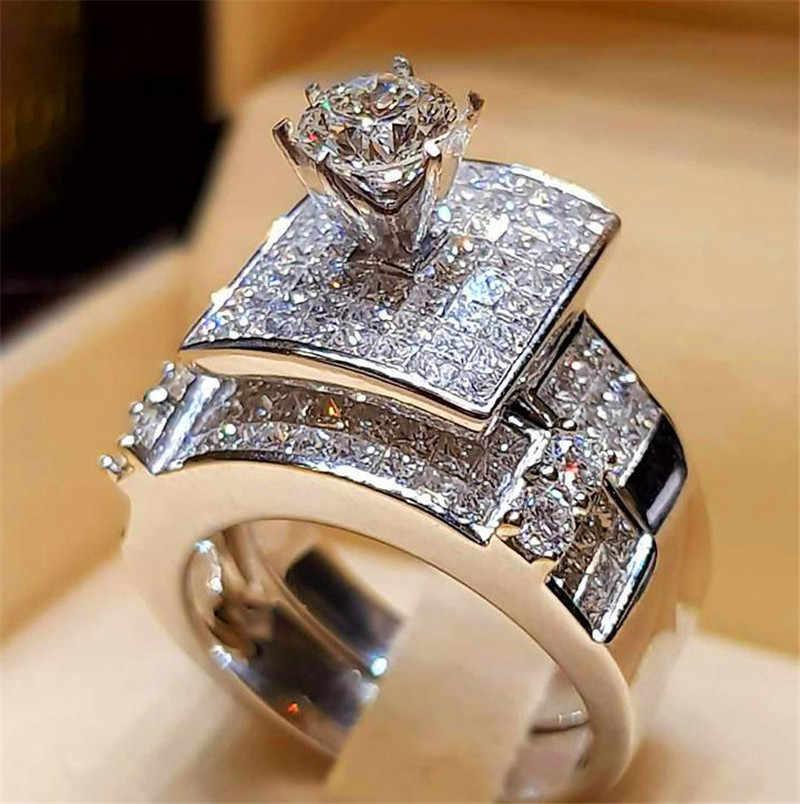 Boho feminino cristal zircon anel de casamento conjunto moda 925 prata grande pedra dedo anel promessa nupcial noivado anéis para mulher