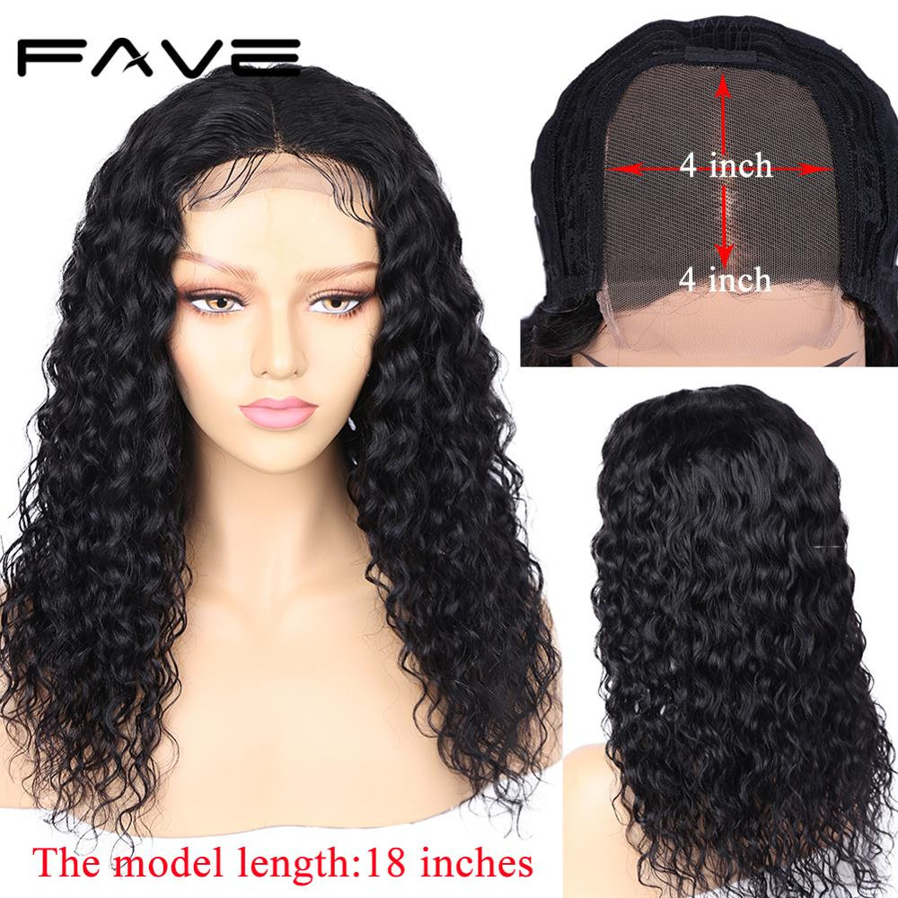 FAVE Human Hair Lace Front Wigs 4x4 Closure Water Wave Wig Glueless Malaysian Remy Wig 8-24