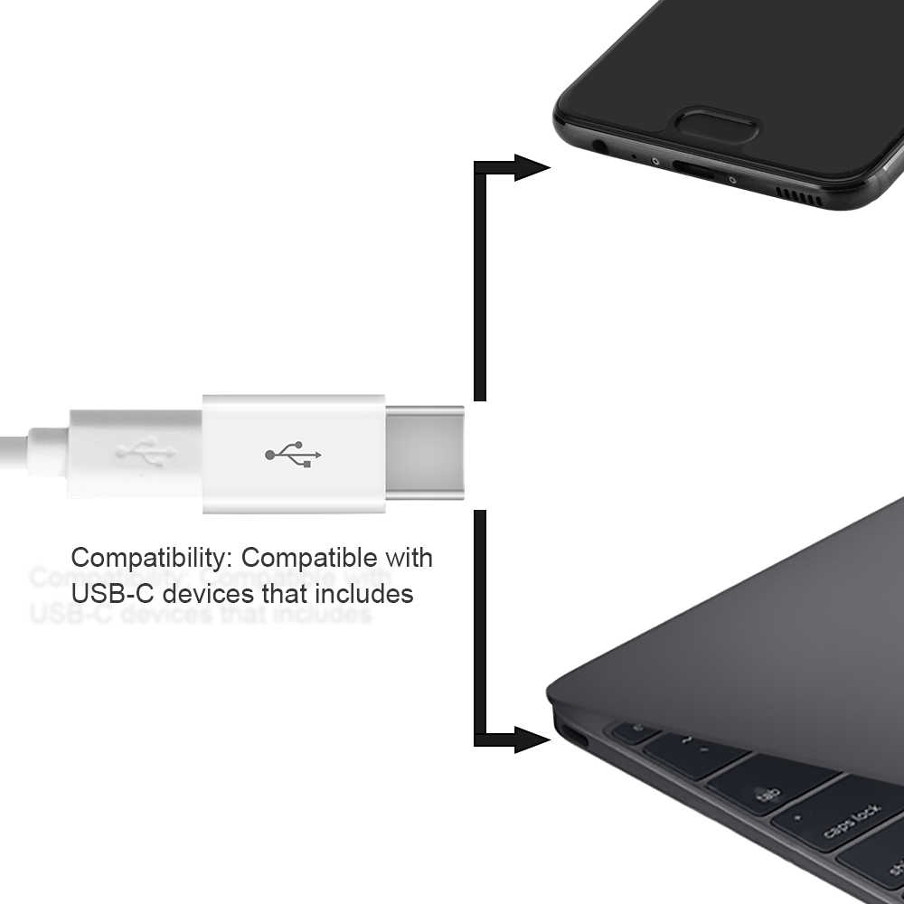 USB نوع C محول-الهاتف المحمول العالمي التوصيل والتشغيل حجم صغير صغير مريحة لحمل كابل شحن سريع نوع C كابل