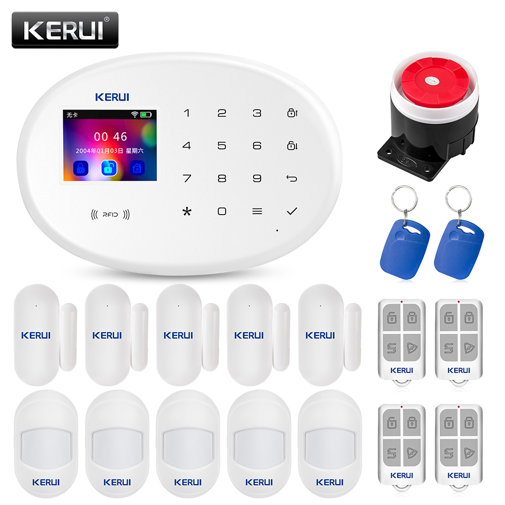 KERUI W20 GSM Alarm System Kit Home Security Wireless WIFI Siren Burglar 2.4 Inch Mini Color Screen Infrared Dsensor Alarm Panel