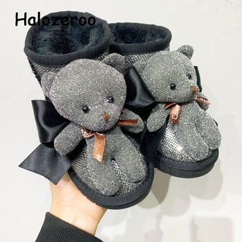 New Winter Kids Snow Boots Children Genuine Leather Shoes Baby Girls Ankle Boots Toddler Bear Brand Boots Boys Black Soft Boots new winter snow boots children girls genuine leather boots princess student warm with plush toddler shoes kids 041