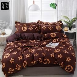Bedding Set 4Pcs/Set 21Style Bed Sheet Pillowcase & Duvet Cover Sets Stripe Aloe Cotton Bed Set Home Bed Textile Products