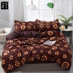 Set Tempat Tidur 4 Buah/Set 21 Gaya Tempat Tidur Lembar Sarung Bantal & Selimut Penutup Set Garis Aloe Katun Set Rumah Tempat Tidur produk Tekstil