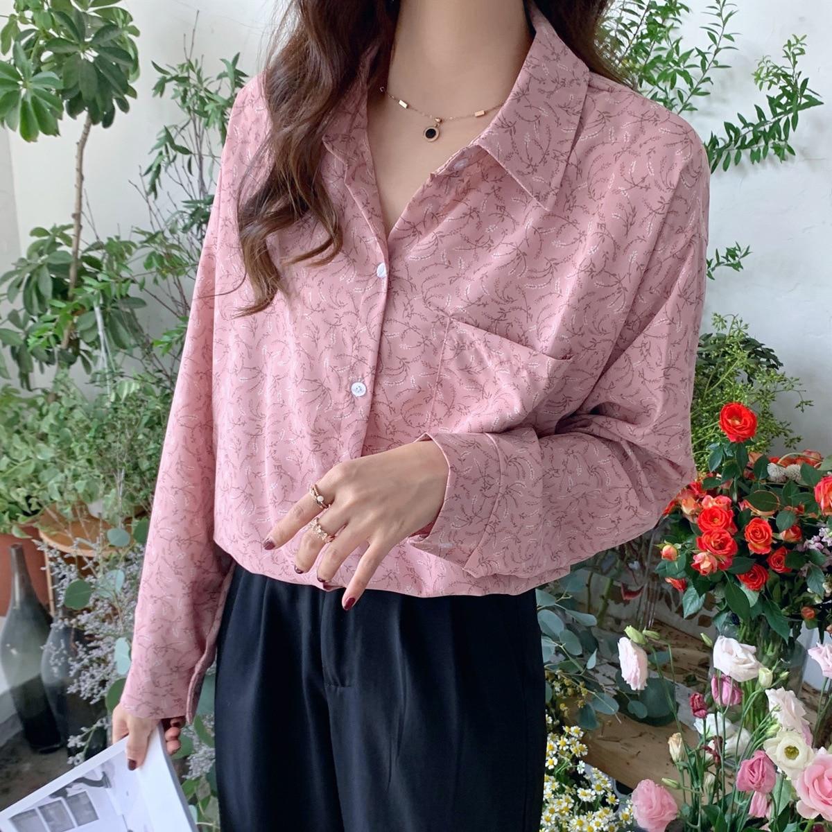 XUXI Autumn 2020 Women Thin Shirt Fashion Long Sleeve Streetwear Small Broken Flower Printing Vintage Chemise Femme FZ3147