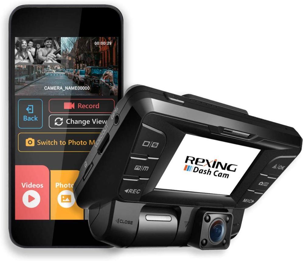 Rexing V2 Cámara Dual frontal + trasera 1080p Full HD WiFi Ultra gran angular pantalla LCD coche, cámara de salpicadero de Taxi Medidor de vídeo y adaptador BNC ESCAM de 5M a 60M, potencia 12V CC, Cable integrado para cámara analógica CCTV DVR, Kit de sistema de cámara