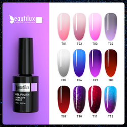 Beautilux Thermo Nail Gel Polish Thermal Temperature Color Changing Mood Nails Gels Varnish UV LED Permanent Nail Lacquer 10ml